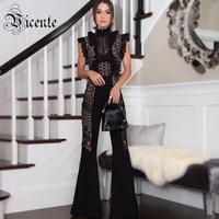 Free Shipping! Chic Black Lace Jumpsuit Ruffles Sexy Sleeveless Boot Cut Wholesale Celebrity Party Wear Bandage Jumpsuit