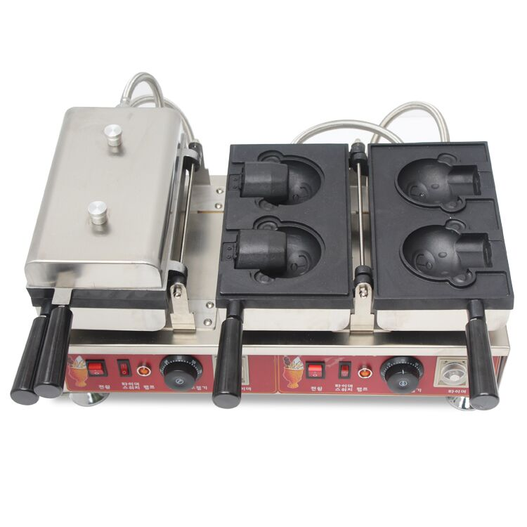 Free shipping Commercial Use Non-stick 110v 220v Electric 4pcs <font><b>Ice</b></font> Cream Taiyaki Machine Cartoon Bear shape