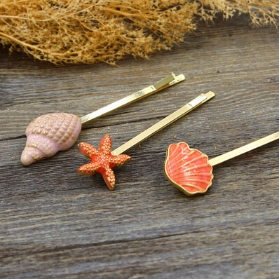 H119 Free shipping Sweet Conch Sea Star Shell Barrettes Hair Clip hair accessory wholesale HY
