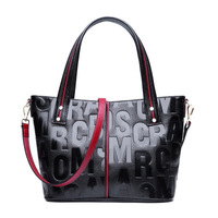 2019 Fashion Women Genuine Leather Handbag Embossing Letter Match Color Cowhide Shoulder Cross body Bags Red Black