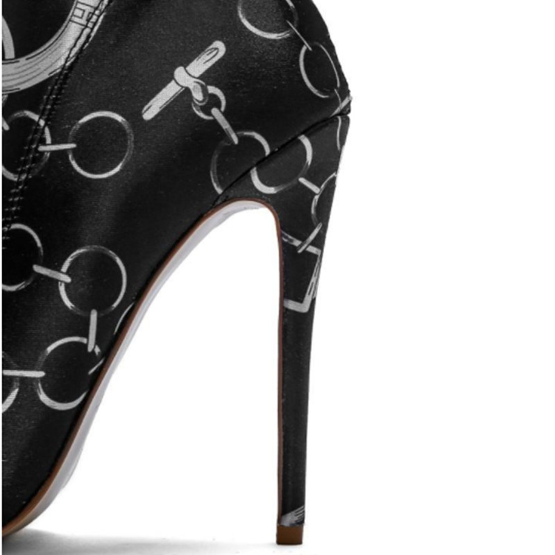 Couleurs Mélangées As Chaussures Talon Femme Bout Picture D'impression Bottes Stiletto Chaîne Genou Longue Pointu Femmes Sur Extensible De Le Haut Mode ddTrwHaq
