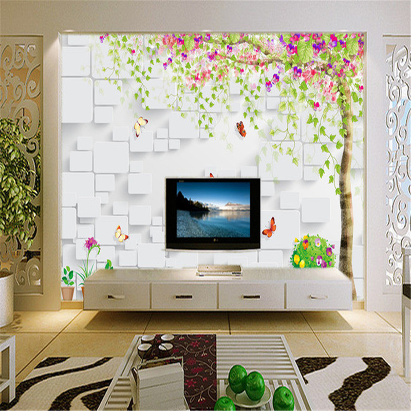 3D Custom Wallpapers Flowers Tree Photo Wall Papers for Living Room Walls Murals Home Decor Brick Background Woods Leaf Pictures custom photo wallpapers for walls 3d modern non woven wall papers mural for bedroom living room home decor flowers oil painting