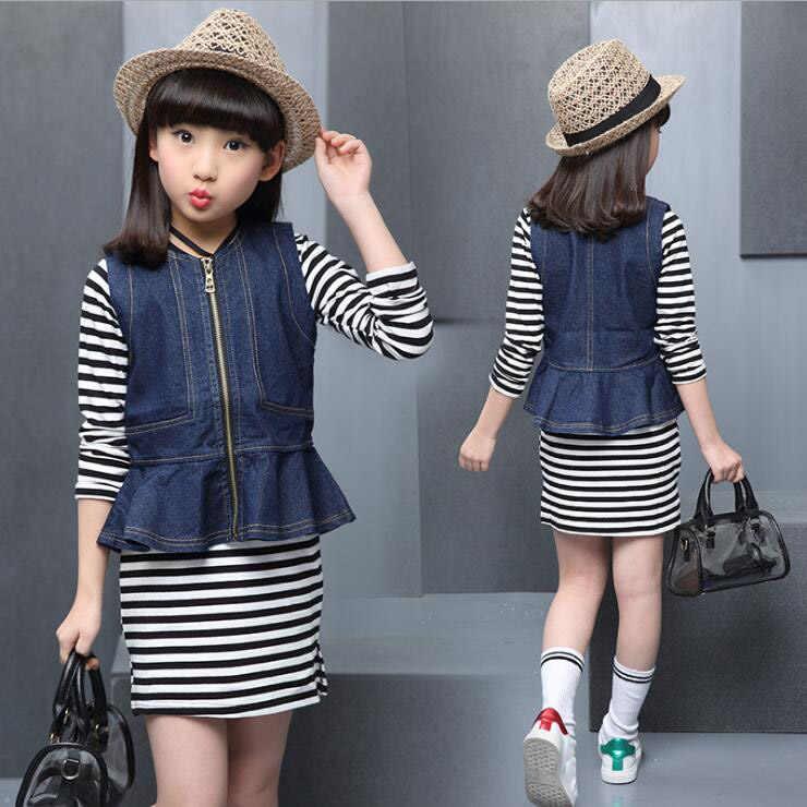 7ca60332f Otoño primavera niñas conjuntos de ropa de mezclilla abrigo Jeans ...