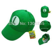 Super Mario Bros Adult Kids Costume Hat Anime Cosplay Red Mario baseball Cap and mesh green L luiqi Animefree shipping