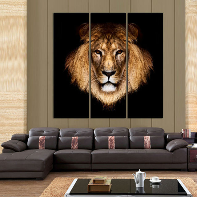 3 Piece Beautiful Art Lion Picture Modern Animal Wall Painting Home Room Gallery Decor Art Hd