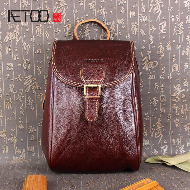 AETOO Female college wind summer travel leather casual women shoulder bag head layer of leather backpack
