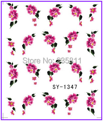 1X   Water Transfers Stickers Nail Decals Stickers Water Decal Red Flower SY1347 1x nail sticker palm tree flamingos water transfers stickers nail decals stickers water decal opp sleeve packing yu665