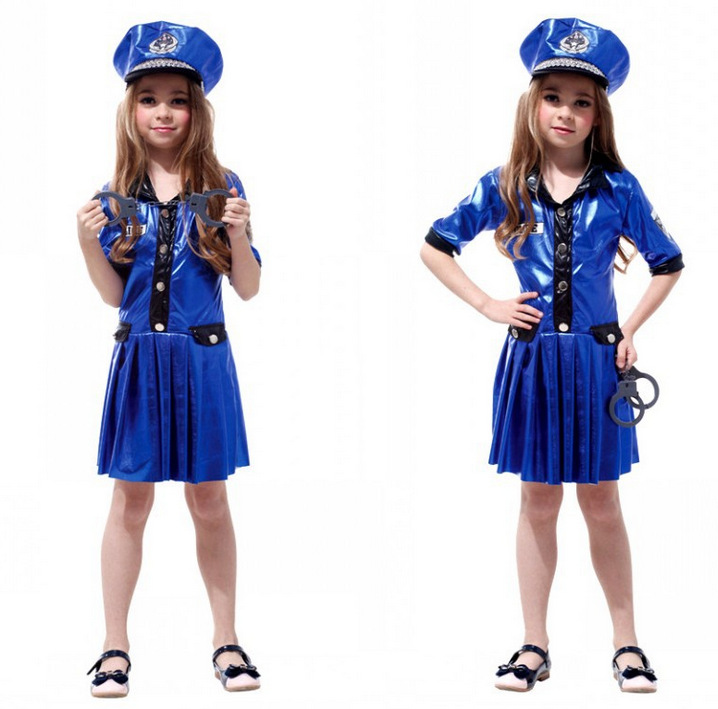 Free Shipping Police Costumes Kids with Hat Halloween Carnival Masquerade Cosplay Party Fancy Dress Clothes for Children Girls