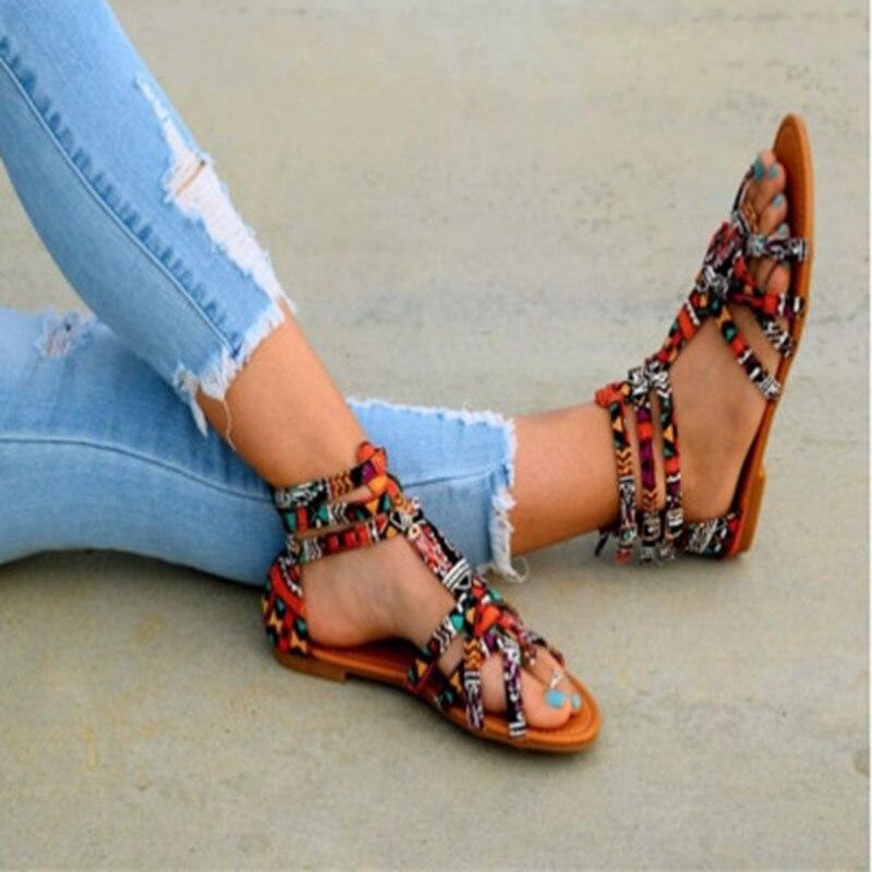 WENYUJH Bohemian Women Flat Shoes Summer Roman Sandal  Sandalias Mujer  Female Beach Flat Plus Size