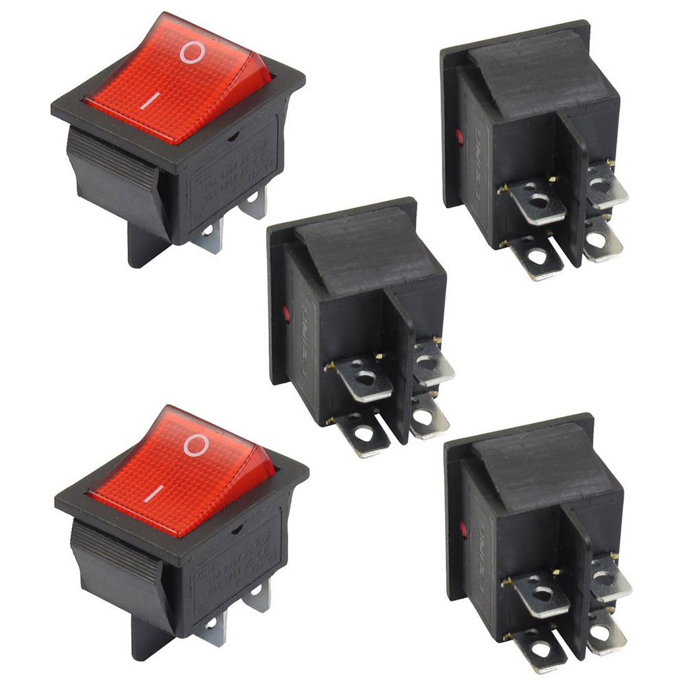 5 x Red Illuminated Light On/Off DPST Boat Rocker Switch 16A/250V 20A/125V AC 250vac 15a 125vac 20a 4 pin 2 position dpst on off snap in rocker switch kcd2 201n