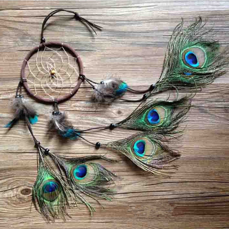 Buy Dream Catchers Online peacock dreamcatcher wind chimes indian style feather pendant 16