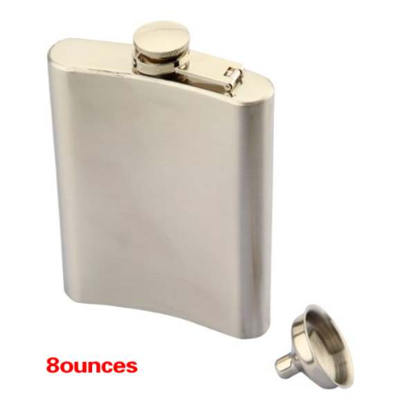 Stainless Steel Whisky Liquor Alcohol Pocket Hip Flask +Funnel(With Plastic Lid)