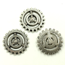 20Pcs Connectors Silver Tone Round Gear Charms Metal Pendants Jewelry DIY Making Finding 17mm