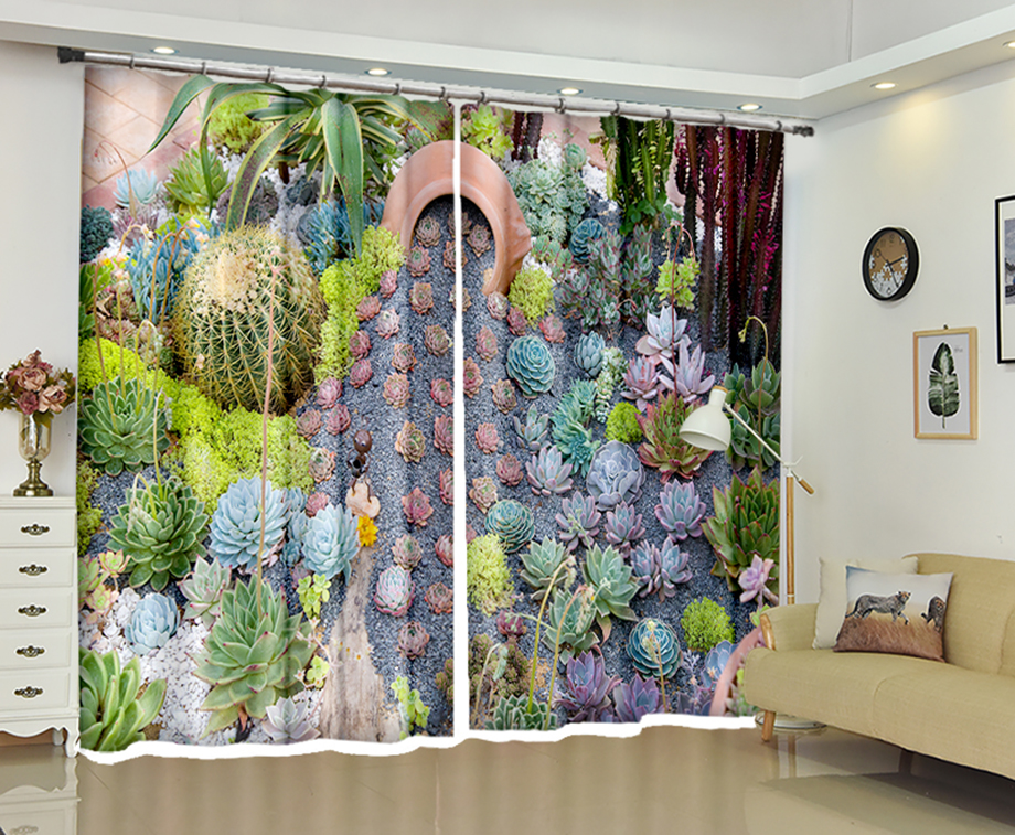Cactus plant print Luxury 3D Blackout Window Curtain Drapes For Living room Bedroom Hotel Office Wall Decor Cortinas  Rideaux Cactus plant print Luxury 3D Blackout Window Curtain Drapes For Living room Bedroom Hotel Office Wall Decor Cortinas  Rideaux