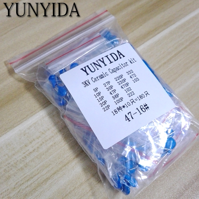 DIY KIT 180pcs=18value*10pcs 3KV Ceramic Capacitor KIT 3KV 5P 10P 22P 30P 47P 56P 100P 150P 220P 330P 470P 102 222 332 472 103