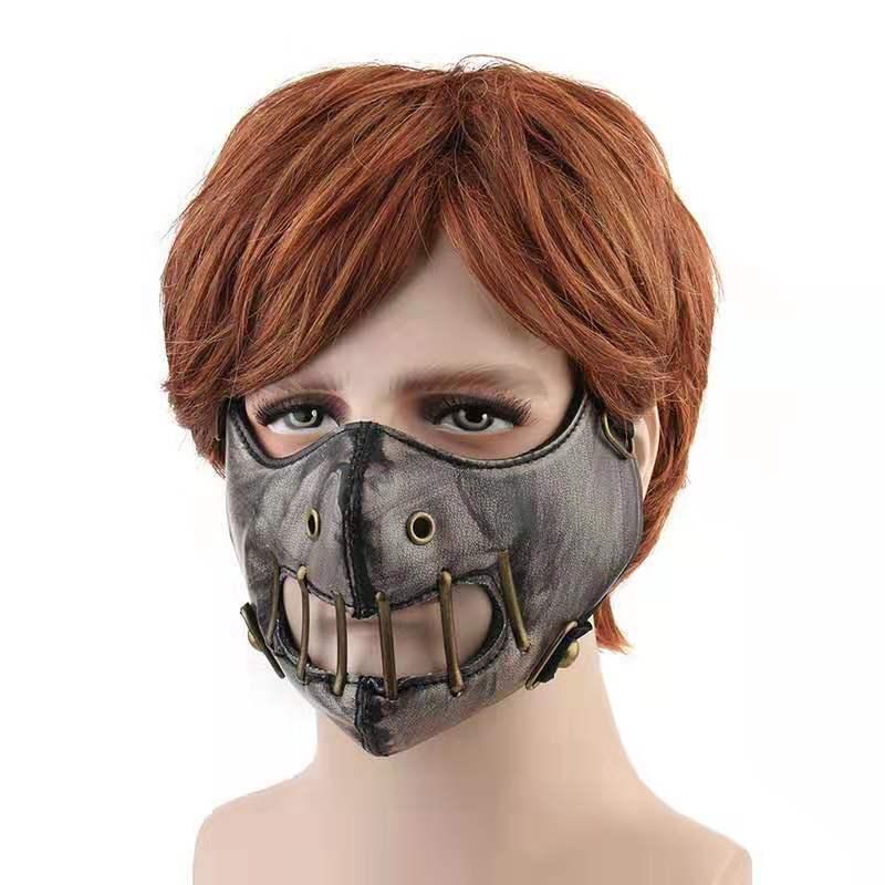 Hot sales outdoor locomotive mask Anime vintage black color leather mask Cosplay Biker Half Face Mask Rock Hip hop Party prop