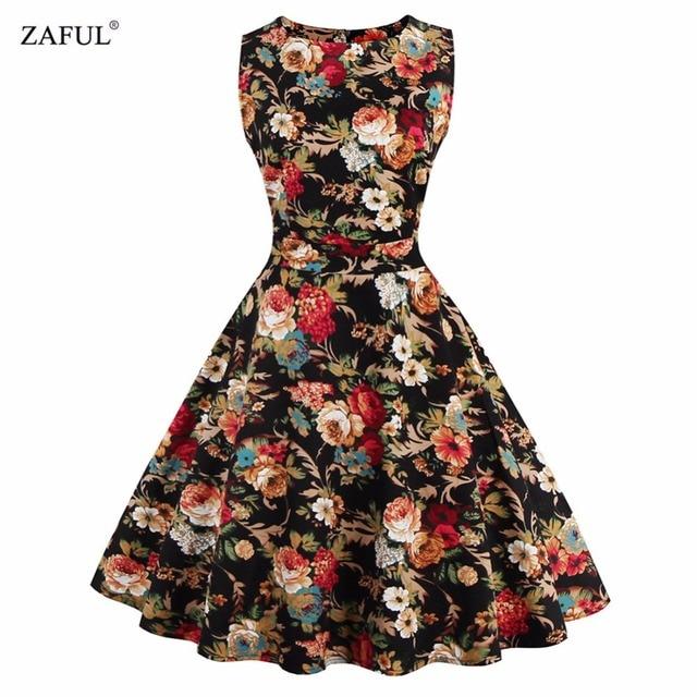 Zaful Rétro Pin-Up Tutu Robes Hepburn 50 s 60 s Rockabilly Robe Imprimé floral Robe Vintage Femmes feminino Robes Swing robes