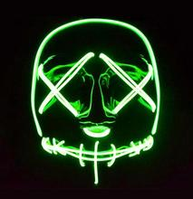 EL wire Neon led luminous mask Horror grimace bloody Halloween Christmas carnaval party club bar DJ glowing full face masks