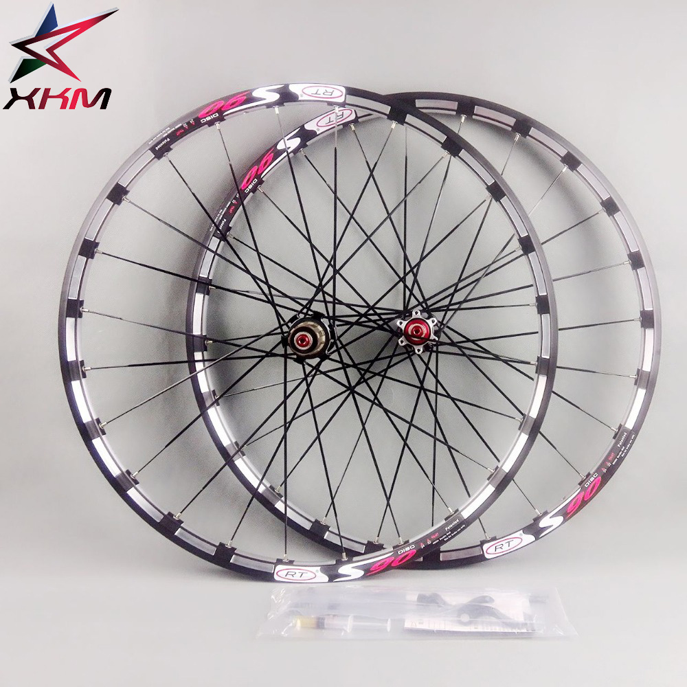 Mountain Bike Bicycle Wheel Milling Trilateral <font><b>RT</b></font> 24 Hole 5 bearing smooth wheel <font><b>wheelset</b></font> Rim Rims MTB Disc Brake120 Clicks image