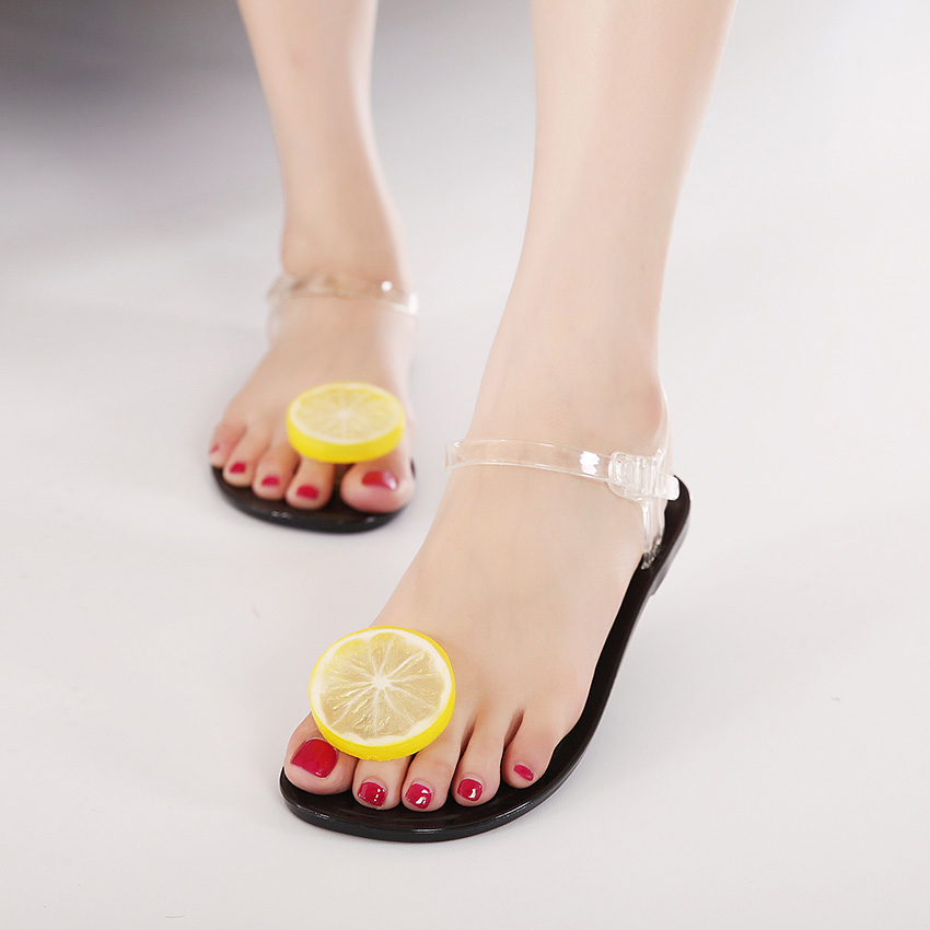 3d20dfad5 2016 summer models jelly crystal flat sandals clip toe simulation  lemon watermelon Green Apple plastic beach women shoes 201601-in Women s  Sandals from ...