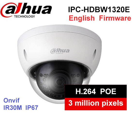 New English Version Dahua 3MP 1080P POE IP Camera IPC-HDBW1320E IRC Camera 3MP HD Network Mini IR Dome Camera IP67 CCTV Camera free shipping dahua cctv camera 4k 8mp wdr ir mini bullet network camera ip67 with poe without logo ipc hfw4831e se