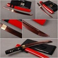 Fully Handmade Folded Steel Red Japanese Tanto Full Tang Samurai Sword Sharp Knife Ornate Metal Home Decoration