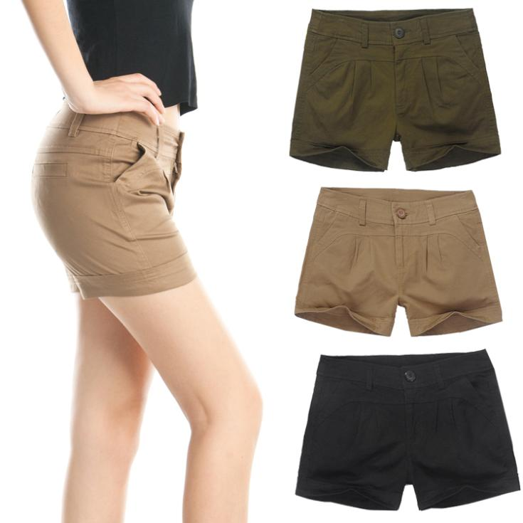 Black Khaki Shorts Womens - The Else