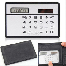 Portable Mini 8 Digits Ultra Slim Credit Card Size Solar Power Pocket Calculator Free Shipping