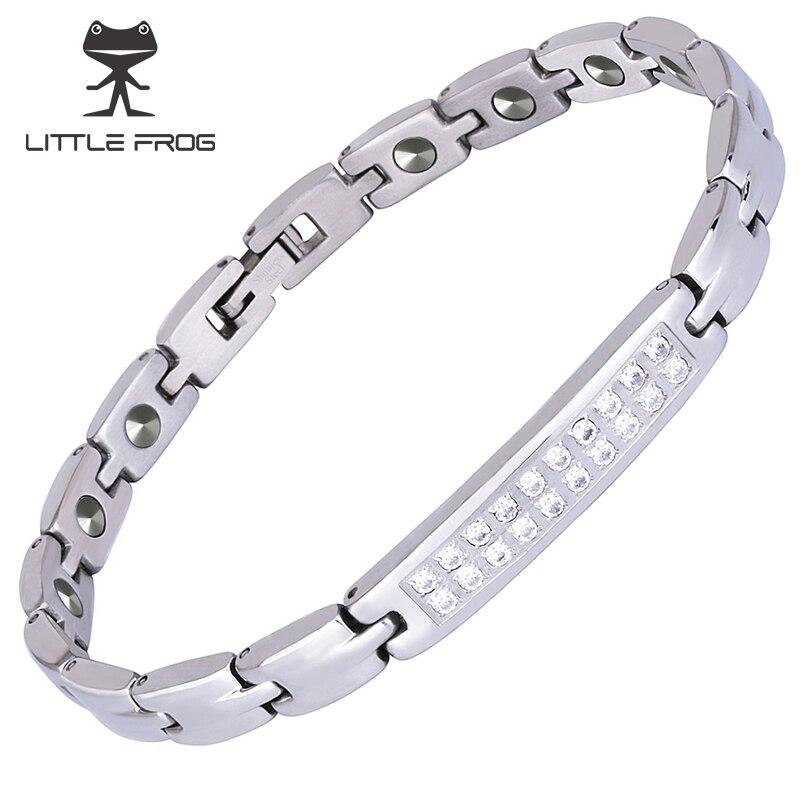 Petite grenouille SGS authentification 17 pièces 99.9999% pur Germanium Bracelet pour femmes en acier inoxydable Bracelets et Bracelets 10197