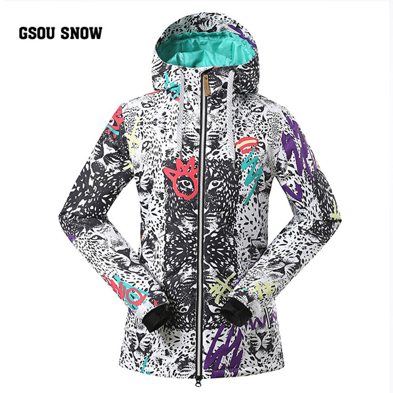 Gsou Snow Brand 2018Women Ski Jacket High Quality Hooded Snowboard Jackets Winter Warmth -30 Degree Female Outdoor Sports Coats winter men jacket new brand high quality candy color warmth mens jackets and coats thick parka men outwear xxxl