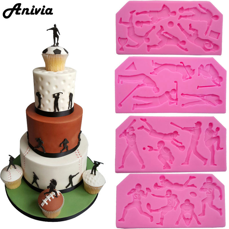 Football Rugby Golf Baseball Sport Mold Silicone Mould For Fondant Cake Topper Decorating Chocolate Sugarcraft Baking Craft In Molds From Home Garden