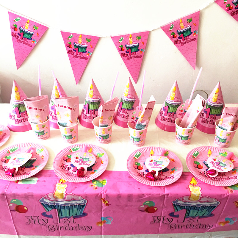 64pcs/lot 1st birthday plates cups girls birthday party supplies my first design plates dishes 1st birthday party set decoration