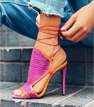 Sexy Mixed Color Lace-up Ankle Strap Sandals Woman Patchwork Peep Toe High Heels Slingback Shoes Lady Dress Shoes Plus Size 13 lace up designer european high heels ankle strap beige strappy denim 3 inch round toe sandals blue slingback pumps canvas wedge
