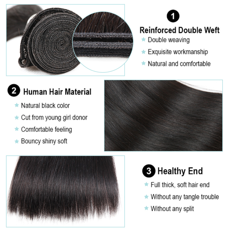 Black Pearl Pre-Colored 3 Bundles with Closure Straight Human Hair Bundles with Closure Brazilian Hair Weave Bundles