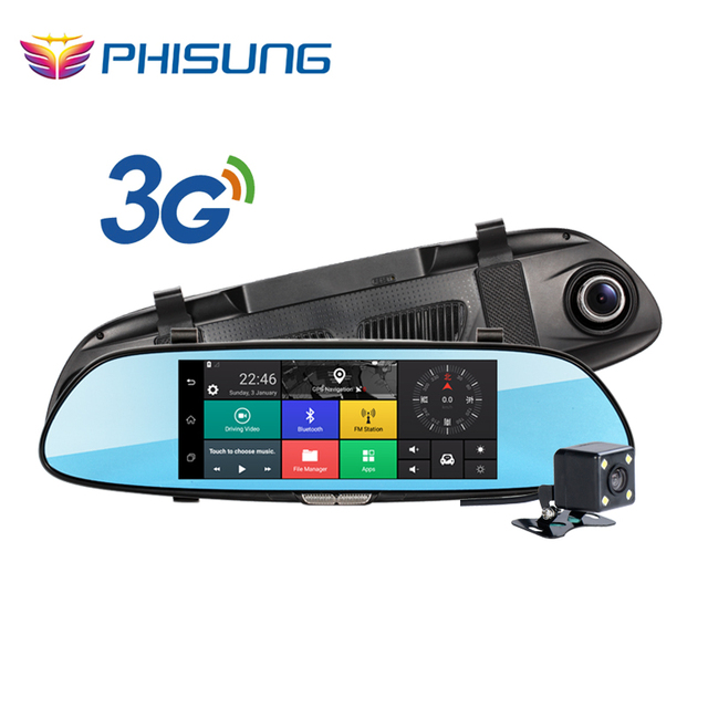 Phisung Android 5.0 Dual Lens Rearview Mirror Car dvr Recorder 7 Inch FHD 1080P car automobile GPS Navigation Support 3G WIFI
