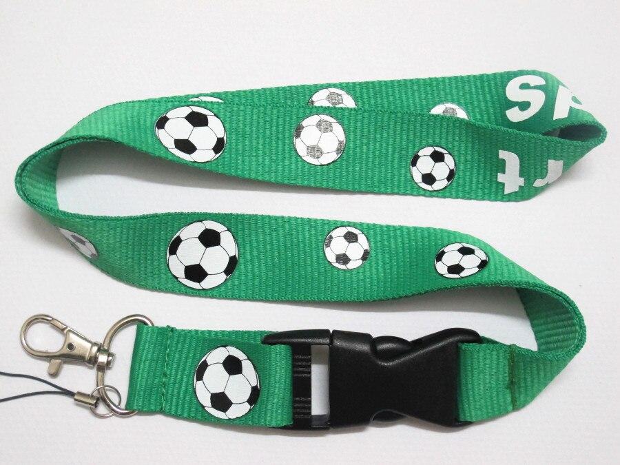 Fans Green Football Pattern Badge  Lanyard For Keys Case Holders Mobile Phone Neck Straps