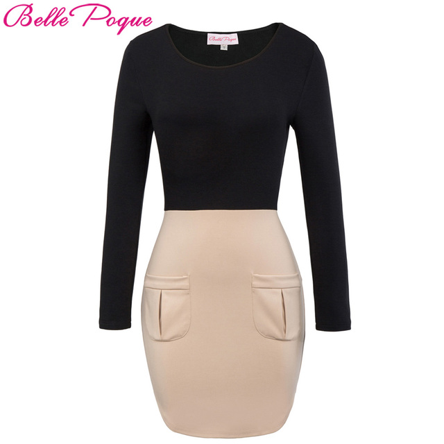 Belle Poque Womens Ladies Bodycon Winter Dress 2017 Women Office Work Long Sleeve  Robe Sexy Black e5cc1a6847d2