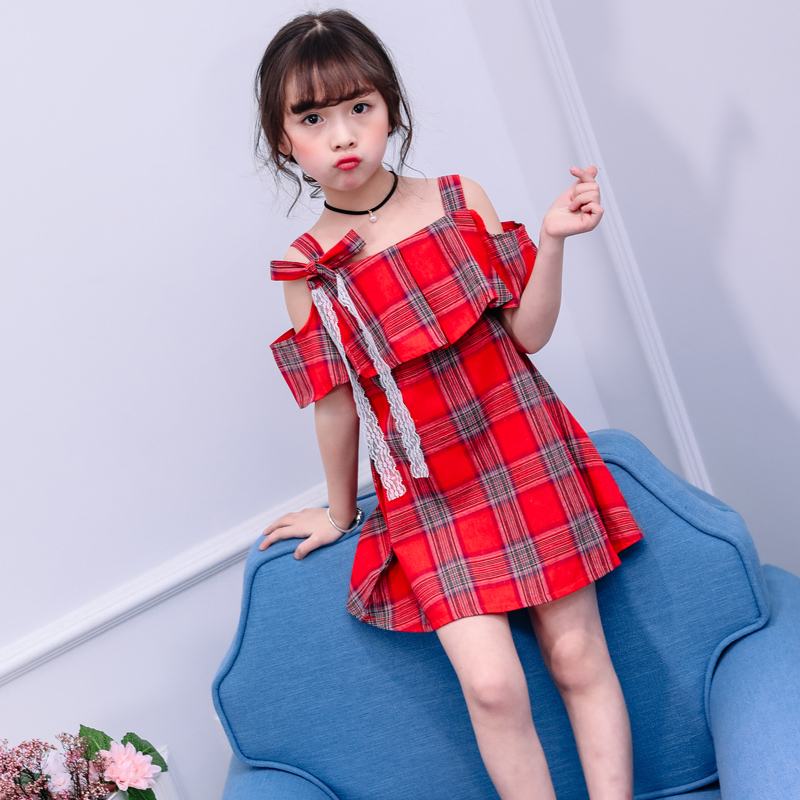 fffdf50f675643 summer new fashion 4 12 years old girls off the shoulder dresses child  bowknot dress children plaid clothes baby clothing-in Dresses from Mother & Kids  on ...