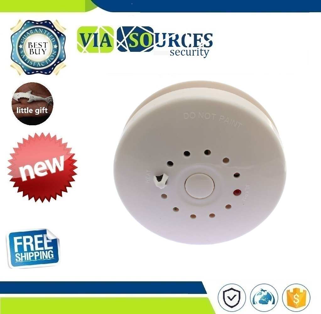 Photoelectric Smoke And Heat Detector With 85dB Horn Alarm Sound 12V Or 9V Battery Power Supply(not Included )