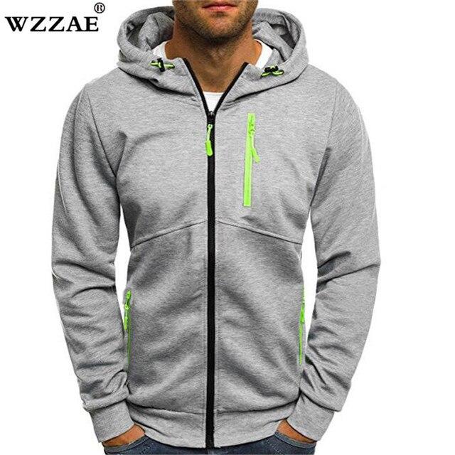 54270c2db94 Plus Size Men s Hoodies Tracksuit 2018 Autumn Winter Drawstring Pocket  Hooded Sweatshirt Long Sleeve Zip Slim Coat Male Jacket
