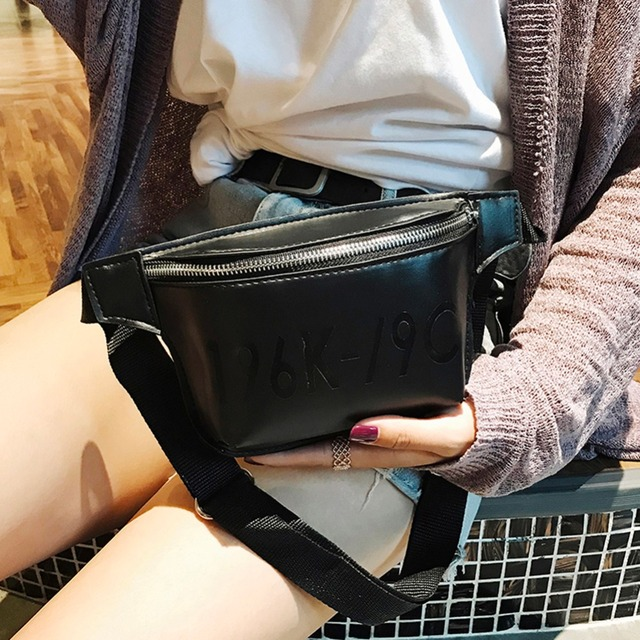 1f3880e288 Small Black Simple Fashion Waist Bag PU Leather Fanny Pack Women Belt  Shoulder Chest Bag Storage