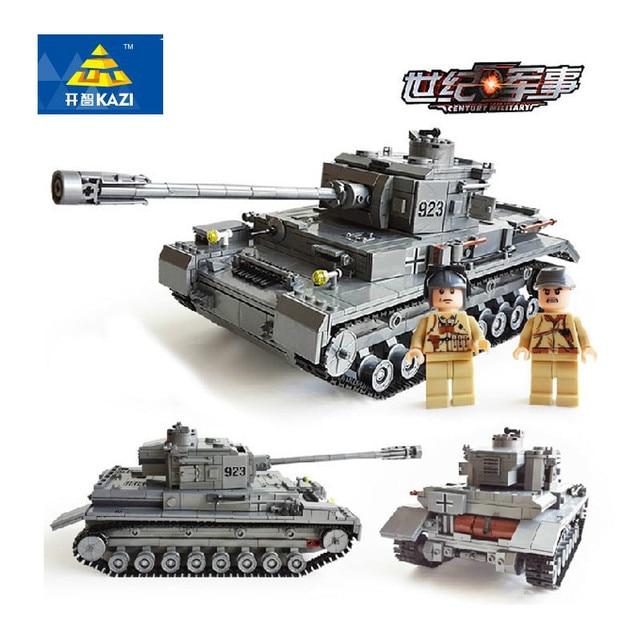 US $37 41 49% OFF|KAZI 1193Pcs German Military Panzer IV War Tank Model  Building Blocks F2 Tank Enlighten DIY Building Bricks Toys For Children-in