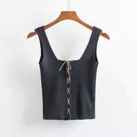 2017 Fashion Women Sexy Knitted Solid Color Tank Tops Summer Elastic V Neck Spaghetti Strap Bandage