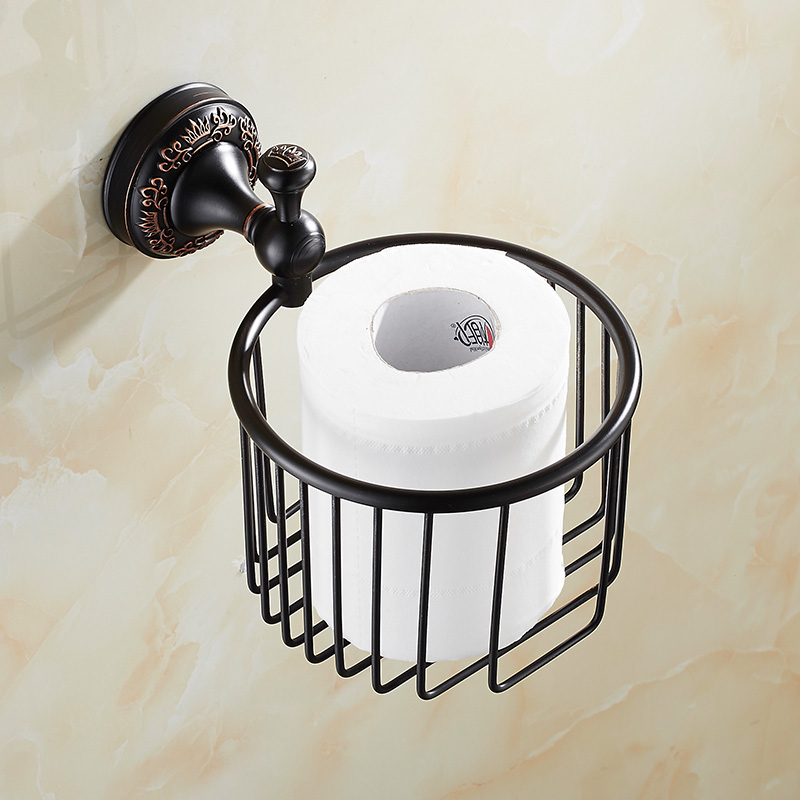 Vintage Black Solid Brass Toilet Paper Holder Brushed Crown Base Paper Box Cosmetic Shelf Wall Mount Bathroom Accessories Lk2