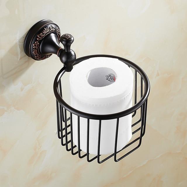US $45.63 |Vintage Schwarz Messing Toilettenpapierhalter Gebürstet  Kronenbasis Papier Box Kosmetikregal Wandhalterung Bad accessoires Lk2 in  Vintage ...