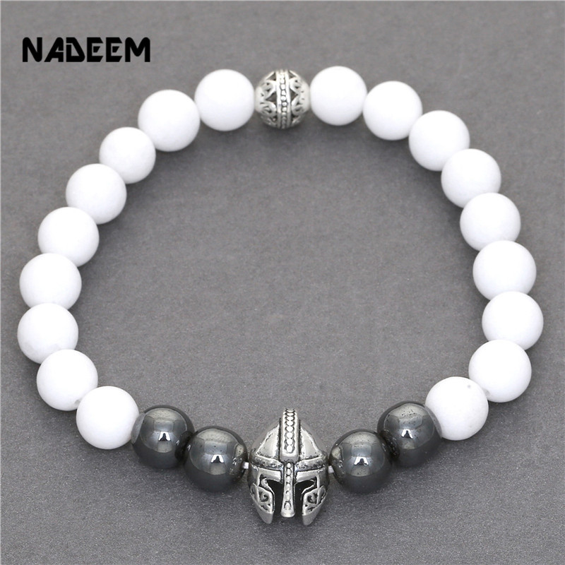 Men 8MM Hematite And Imitated White Stone Bracelets Gun Metal Color Roman Warrior Gladiator Helmet Bead Elastic Bracelet