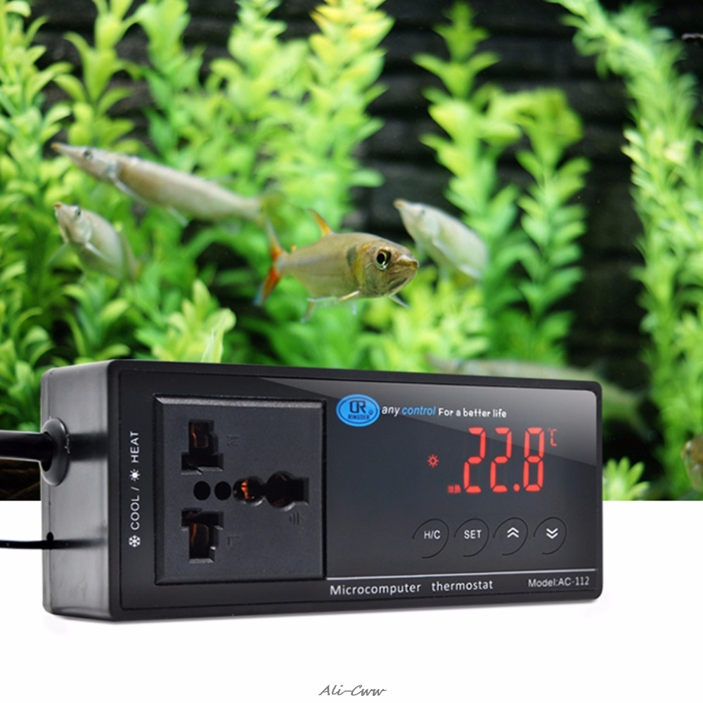 220V Digital LED Display Temperature Controller Thermostat For Aquarium Reptile Temperature Control Products UK/EU/US Plug