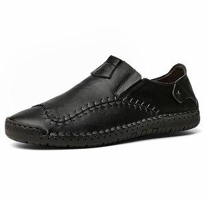 Image 1 - Męskie skórzane mieszkania projekt modne buty w stylu casual dla mężczyzn 2019 New Arrival mężczyźni mieszkania obuwie męskie mokasyny mokasyny