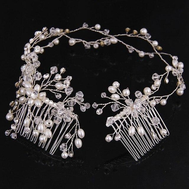 Beaucoup de Style Argent Perle Strass De Cheveux De Mariage Peigne Pour Les Femmes Cristal Bijoux De Cheveux À La Main Coiffe De Mariée Cheveux Accessoires 2