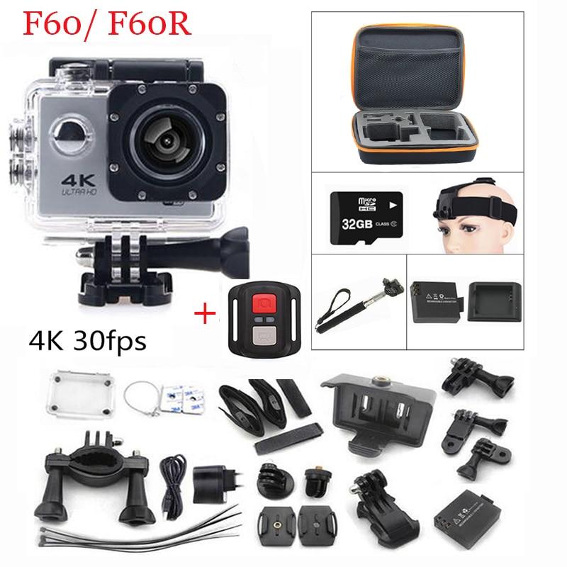 "Action camera gopro F60  F60R Allwinner V3 4K / 30fps WiFi 2.0"" 170D pro Helmet Cam underwater go waterproof Sport camera"